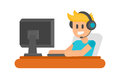 Gaming man with headphones vector illustration.
