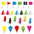 Gaming pieces set of color plastic and tags isolated on white Stock Image