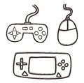 Gaming set hand draw icon graphic design illustration Royalty Free Stock Image