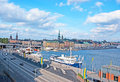 The gamla stan stokholm sweden october view on old town with harbour of skeppsbron and port on stadsgardsleden on Stock Image