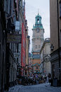 Gamla stan storkyrkan church and cobbled streets in the old town the old town of stockholm sweden storkyrkan swedish brick gothic Royalty Free Stock Images