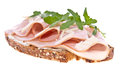 Gammon on bread isolated on white Stock Image