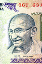 Gandhi on rupee note close up shot of Stock Images