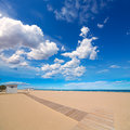 Gandia beach sand in mediterranean sea of spain at valencian community Stock Photos