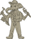 Ganesha Elephant Handyman Tools Drawing