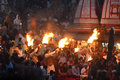 Ganga aarti at the bank of river ganges in haridwar Stock Image