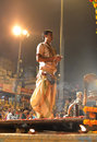 Ganga Aarti Ceremony in Varanasi Stock Photography