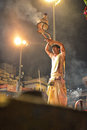 Ganga aarti ceremony in varanasi is a hindu religious ritual of worship it is held dasaswamedh ghat every evening Stock Photo