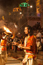 Ganga aarti ritual varanasi india april an unidentified hindu priest performs religious fire puja at dashashwamedh ghat on april Stock Image