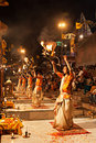 Ganga aarti ritual varanasi india april an unidentified hindu priest performs religious fire puja at dashashwamedh ghat on april Stock Photos