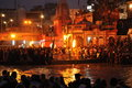 Ganga aarti an unidentified hindu priest performs religious ritual fire puja at haridwar india Stock Photo