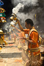 Ganga aarti at varanasi the bank of river ganges in Royalty Free Stock Image