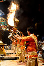 Ganga aarti at varanasi the bank of river ganges in Royalty Free Stock Photos