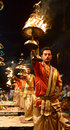 Ganga aarti at varanasi the bank of river ganges in Royalty Free Stock Images