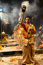 Ganga aarti at varanasi the bank of river ganges in Stock Photography