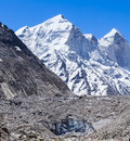 Ganges glacier indian himalayas the gaumukh source of the river with the bhagirati peaks in the background in uttarakhand india Stock Photos