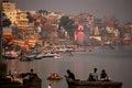 Ganges river in Varanasi city Royalty Free Stock Photo