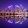 Gangnam district luxury high rise apartment buildings in seoul south korea with reflections Royalty Free Stock Images