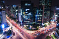 Gangnam intersection traffic speeds through an in seoul Stock Image