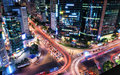 Gangnam intersection traffic speeds through an in seoul Royalty Free Stock Photos