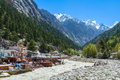 Gangotri indian himalayas the temple town of in the near the source of the sacred river ganges Royalty Free Stock Images