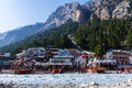 Gangotri indian himalayas the temple town of in the near the source of the sacred river ganges Royalty Free Stock Photography