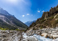 Gangotri valley the ganges river flowing down the in uttarakhand india Royalty Free Stock Photo