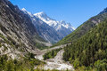Gangotri valley the in the indian himalayas near the source of the sacred ganges river Stock Photography