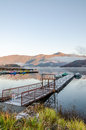 Gangplank at lake kawaguchi in the morning ko japan Stock Photo