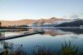 Gangplank at lake kawaguchi in the morning ko japan Stock Photos