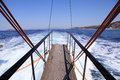 Gangplank of the sailboat yacht and sea view Stock Image
