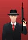 Gangster businessman mafia with gun illustration Royalty Free Stock Image