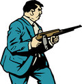 Gangster with gun comic book or cartoon style illustrated fat Royalty Free Stock Image