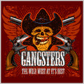 Gangster skull with cowboy hat and pistols grunge vintage poster Stock Photography