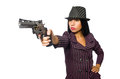 Gangster woman with gun isolated on white Royalty Free Stock Photo