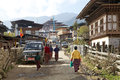 Gangten village, Bhutan Royalty Free Stock Photo