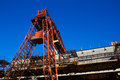Gantry crane on a background of blue sky Royalty Free Stock Images
