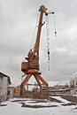 Gantry crane large in an industrial area Royalty Free Stock Photos