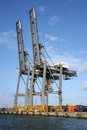 Gantry cranes at a container port the international southampton england november Stock Photos