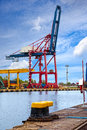 Gantry cranes in a harbor on a background of the blue sky Stock Images
