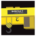 Gantry yellow on black background with two hooks and place for personal text message vector illustration Royalty Free Stock Photos