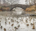 Gapstow bridge central park new york city is one of the icons of manhattan in Stock Image
