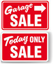 Garage arrow Today ONLY SALE sign Stock Photography
