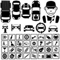 Garage icons black for and car fix Stock Photography