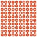 100 garage icons hexagon orange