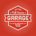 Garage label retro poster or emblem for auto servicing Stock Photography
