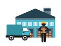 Garage man truck and package icon. Delivery design. Vector graph