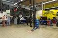 Garage mechanics working during daylight Royalty Free Stock Photos