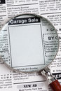Garage sale fake classified ad newspaper concept Royalty Free Stock Photography