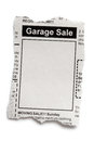 Garage sale fake classified ad newspaper concept Stock Photos